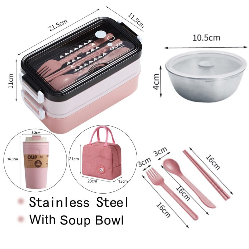 304 Stainless Steel Lunch Box Bento Box For School Kids Office Worker 2layers Microwae Heating Lunch Container Food Storage Box 7
