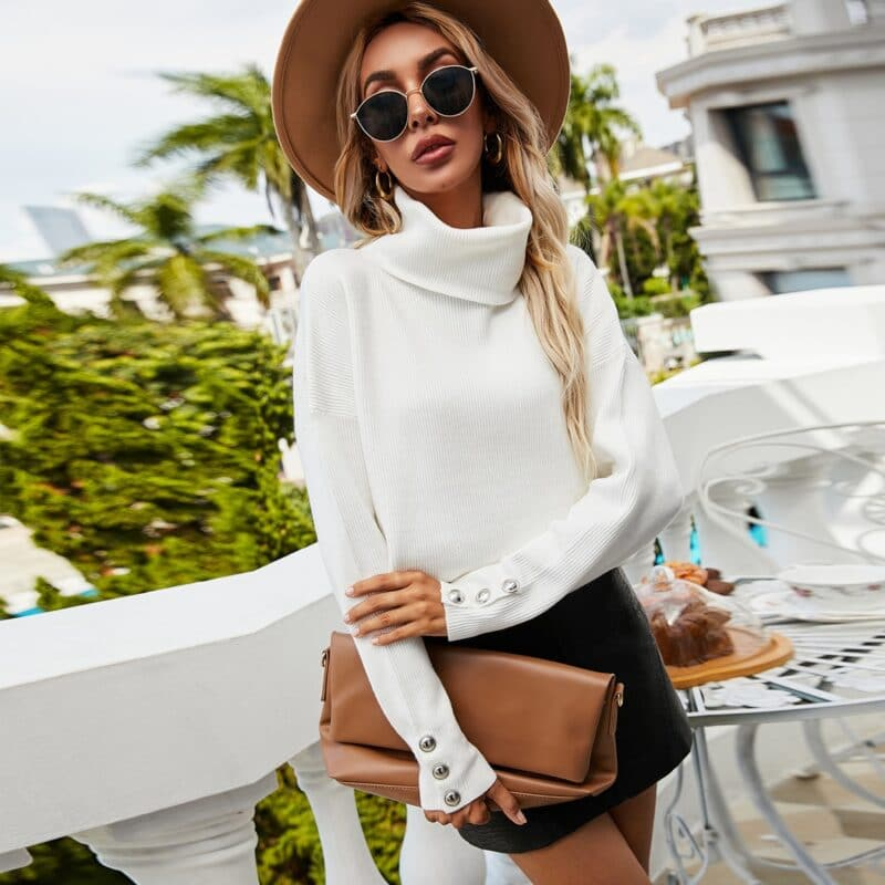 Plus Size Womens Sweaters 2021 Fashion Women's Turtleneck Pullovers Button Long Sleeve Loose Knitted Sweater Tops for Women 11
