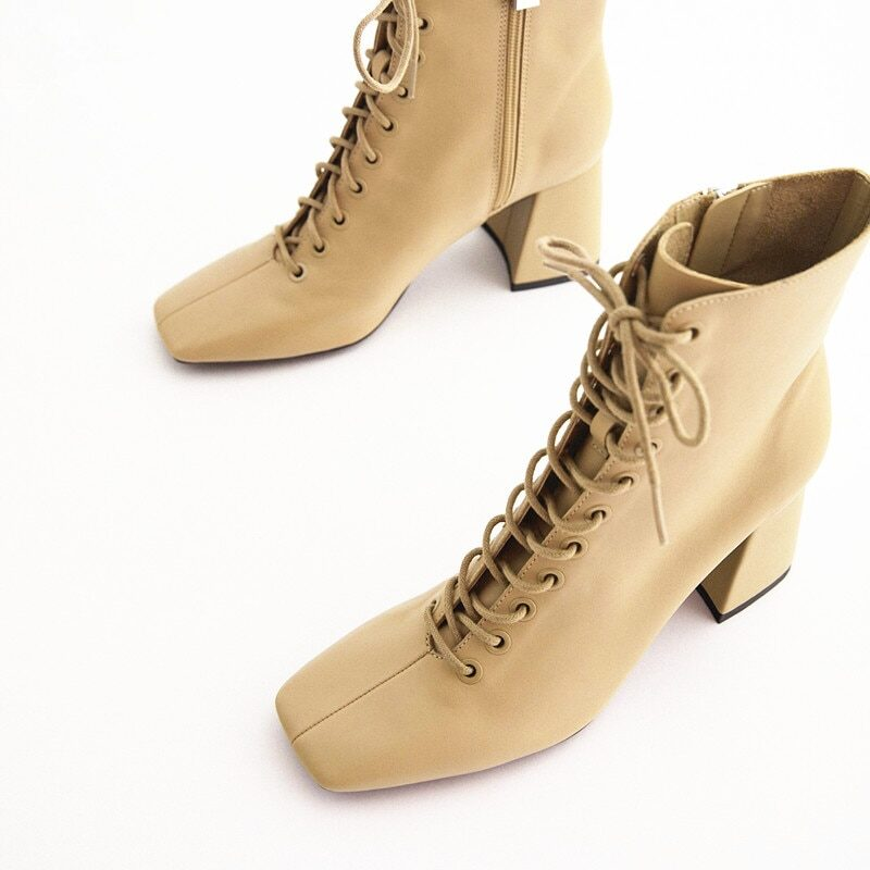 Women's ankle high heel boots with laces with square toe