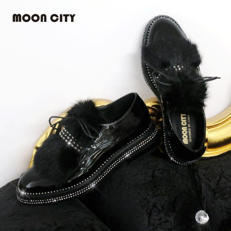 Women Patent Leather Oxfords Flats Ladies Fur Dress Shoes Female 2021 Brand Fashion Luxury Design Winter Loafers Shoes Rhineston 1