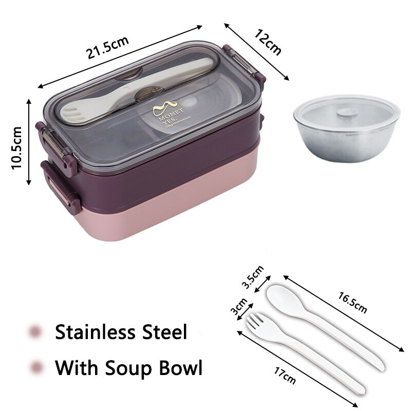 304 Stainless Steel Lunch Box Bento Box For School Kids Office Worker 2layers Microwae Heating Lunch Container Food Storage Box 21