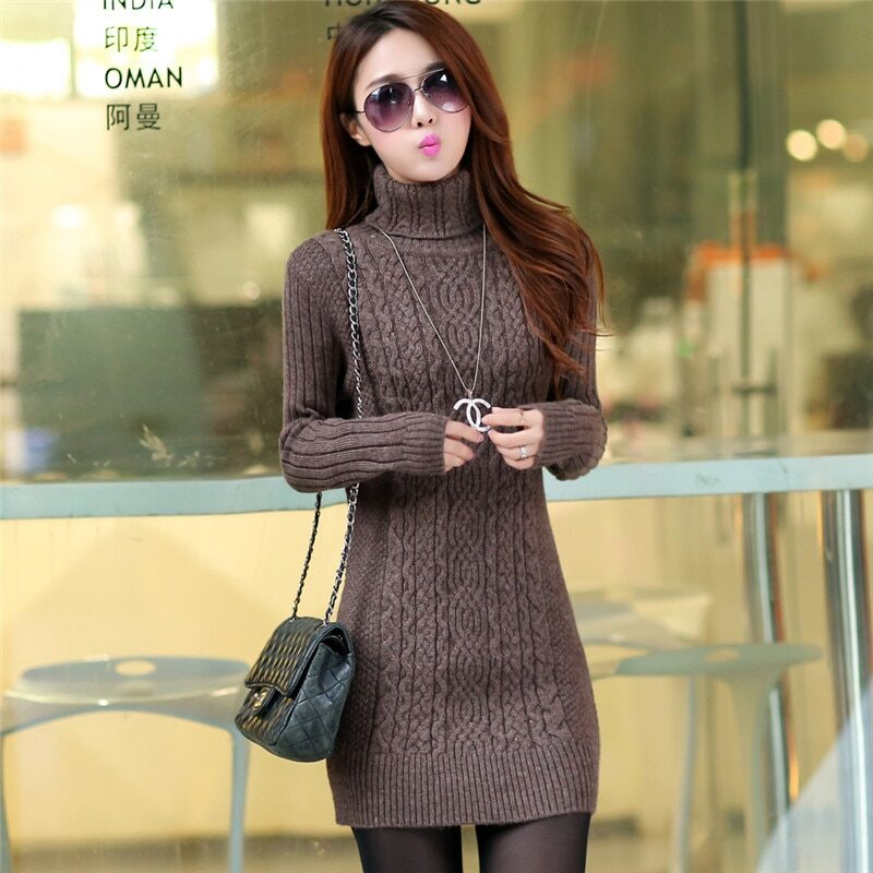 Thicken Turtleneck Sweater Medium Long Knitted Pullovers Women 2020 Autumn Winter Loose Knit Warm Sweater Female Casual Top W364 7