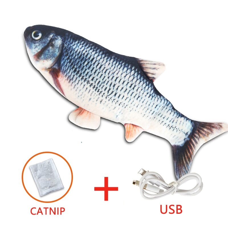 Pet Soft Electronic Fish Shape Cat Toy Electric USB Charging Simulation Fish Toys Funny Cat Chewing Playing Supplies Dropshiping 12