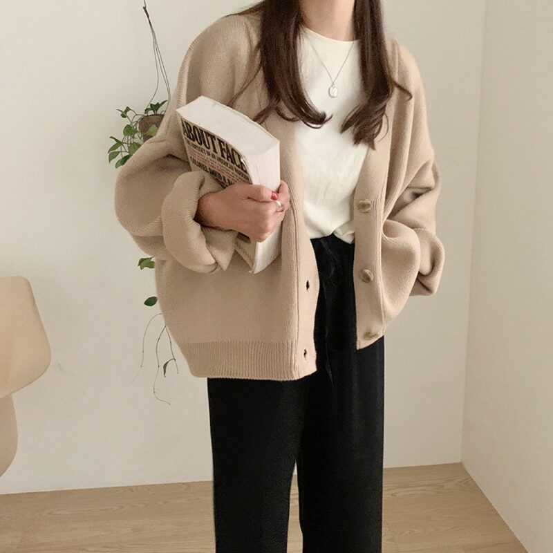 Yitimoky women's long sleeve knitted cardigan with buttons