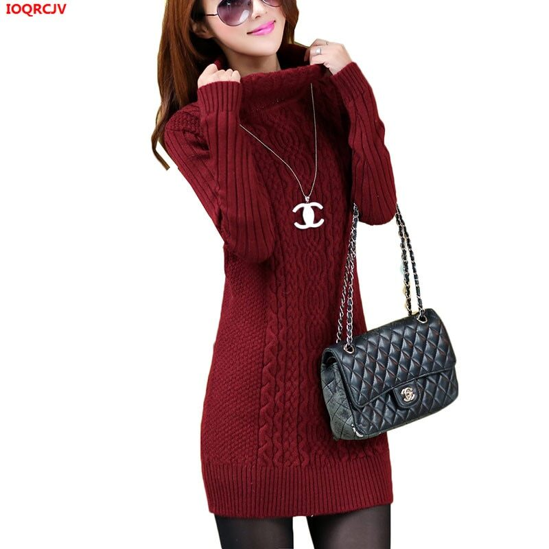 Thicken Turtleneck Sweater Medium Long Knitted Pullovers Women 2020 Autumn Winter Loose Knit Warm Sweater Female Casual Top W364 1