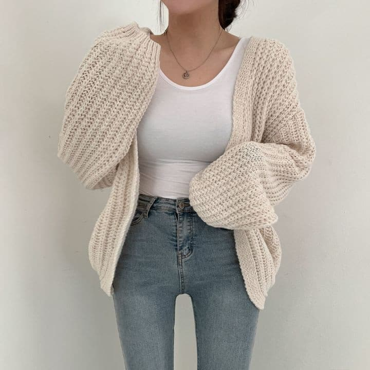 Autumn Lazy Loose Casual Solid V Neck Lantern Sleeve Knitted Sweater Wild Long Sleeve Oversize Cardigan Coat Retro Sueters Mujer 9