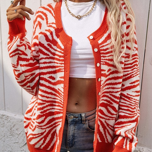 2021 Women's Knitted Leopard Print Sweater Casual Loose Button Comfortable Thick Animal Pullovers Knitted Cardigans for Women 9