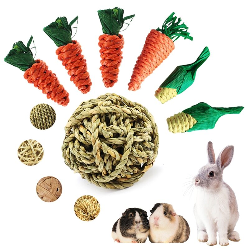 Hamster Rabbit Chew Toy Bite Grind Teeth Toys Corn Carrot Woven Balls For Tooth Cleaning Radish Molar Toys Pet Supplies 1