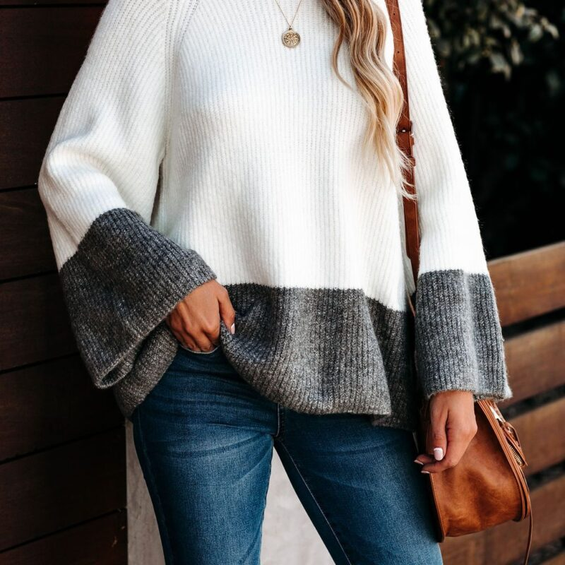Oversized Ladies Color-block Sweater Women Autumn Winter Tops 2020 New Knitted Pullovers Knitwear Loose Striped Sweaters Female 6