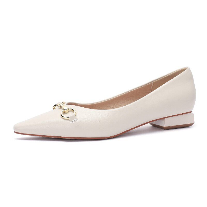 New 2021 Spring Women Shoes Moccasins Low Square Heels Brand Design Gold Buckle Female Slip On Casual Elegant Comfortable Pumps 16