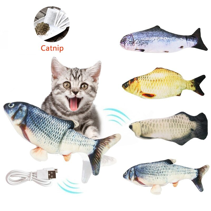 Pet Soft Electronic Fish Shape Cat Toy Electric USB Charging Simulation Fish Toys Funny Cat Chewing Playing Supplies Dropshiping 1