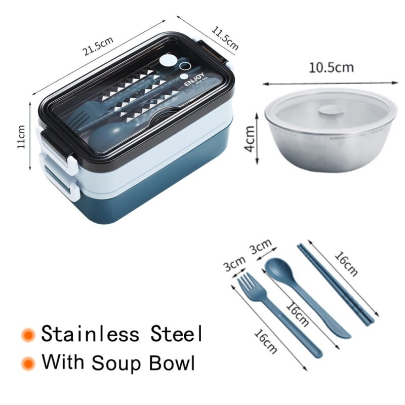 304 Stainless Steel Lunch Box Bento Box For School Kids Office Worker 2layers Microwae Heating Lunch Container Food Storage Box 29