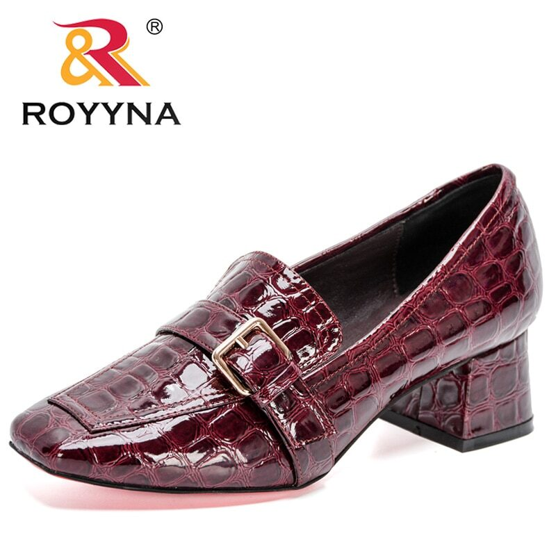 ROYYNA 2020 New Designers Fashion Pumps Patent Leather Thick Heel Shoes Women Square Toe Dress Shoes Ladies Pull-On Shoes Woman 8