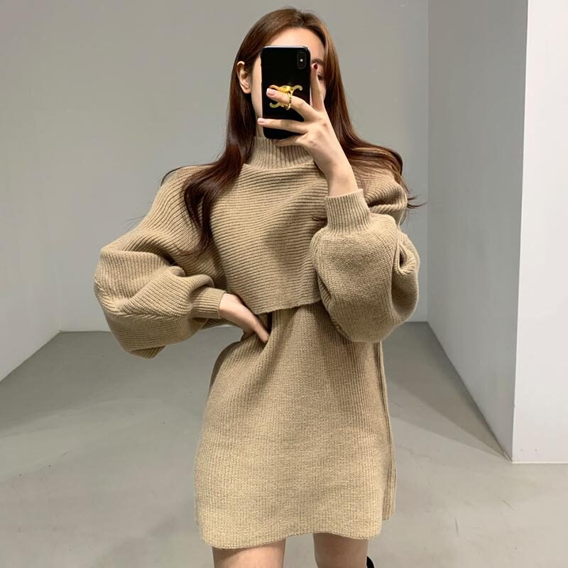 Female Autumn Winter Casual Knitwear Dress Loose Two Piece Set Solid Mock Neck Thick Warm Knitted Pullover Women Long Sweaters 7