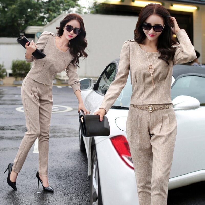 Women's  fashion suit female new spring spring and autumn lady's office ol two-piece suit business professional trousers set