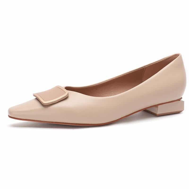 New 2021 Spring Women Shoes Moccasins Low Square Heels Brand Design Gold Buckle Female Slip On Casual Elegant Comfortable Pumps 20