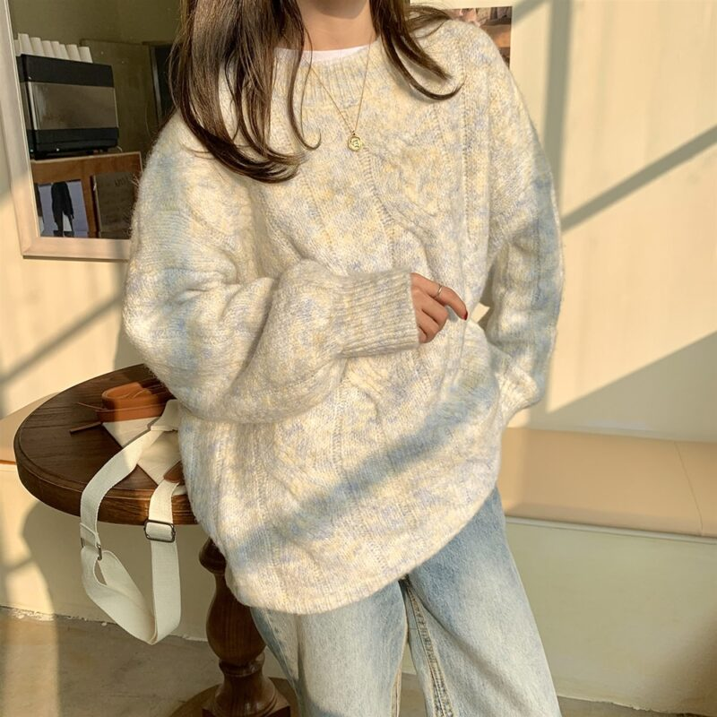 Yitimoky Fall Sweaters for Women Pink Beige O-Neck Pullovers Vintage Thick Knitted Long Sleeve Clothes Korean Style Loose Top 8