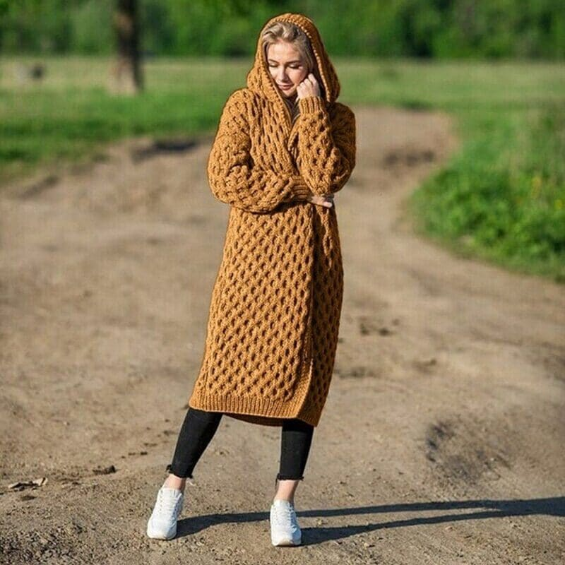 New Arrival Fashion Women's Hooded Thick Knitted Sweater Cardigan Coat Long Sleeve Winter Warm Hooded Long Cloak 8