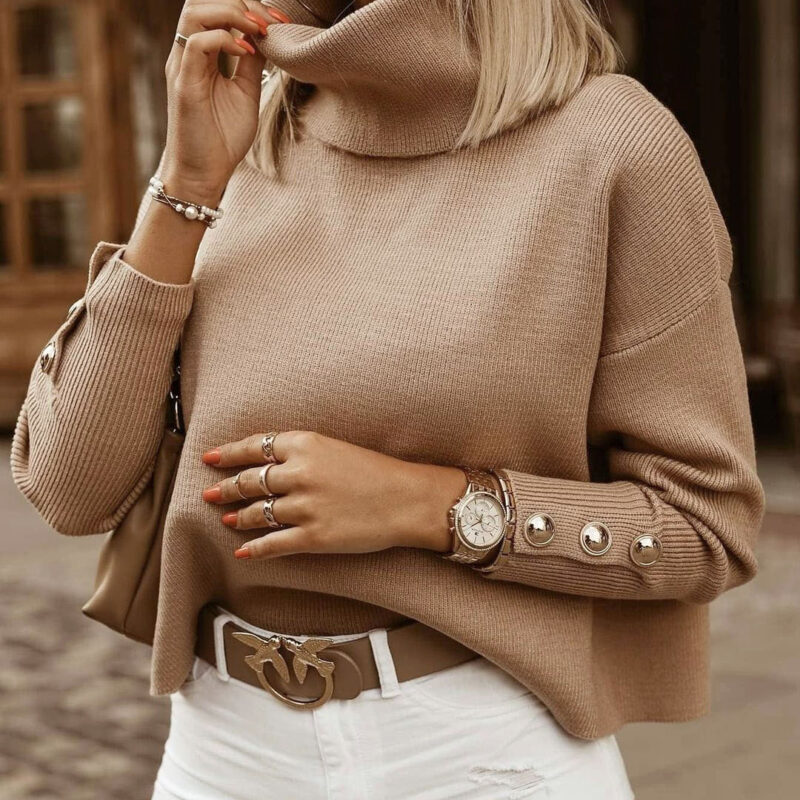 Plus Size Womens Sweaters 2021 Fashion Women's Turtleneck Pullovers Button Long Sleeve Loose Knitted Sweater Tops for Women 8