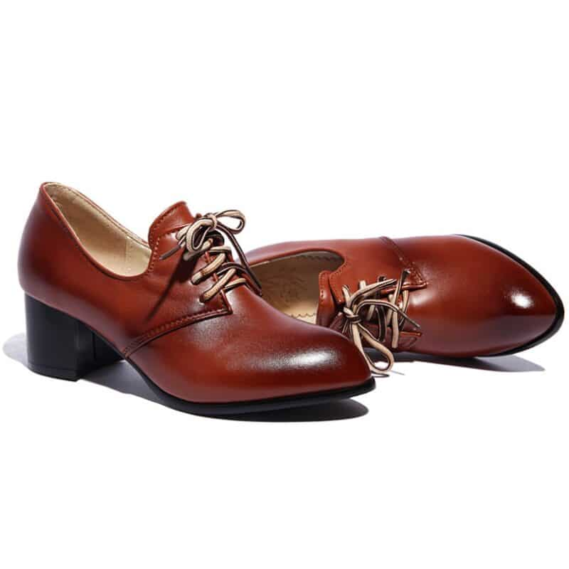 Big Size Spring Women Derbies Vintage Brogues Pointed Toe Black PU Oxfords Autumn Lace Up Casual Office Dress British Lady Flats 8