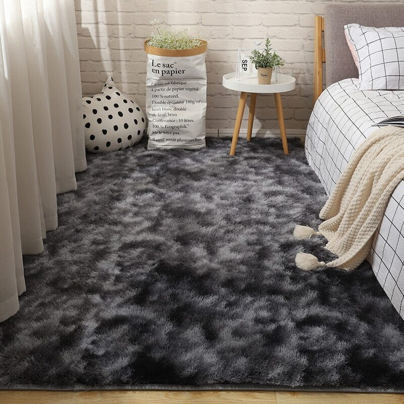 Fluffy Tie Dye Carpets For Bedroom Decor Modern Home Floor Mat Large Washable Nordica in the Living Room Soft White Shaggy Rug 23
