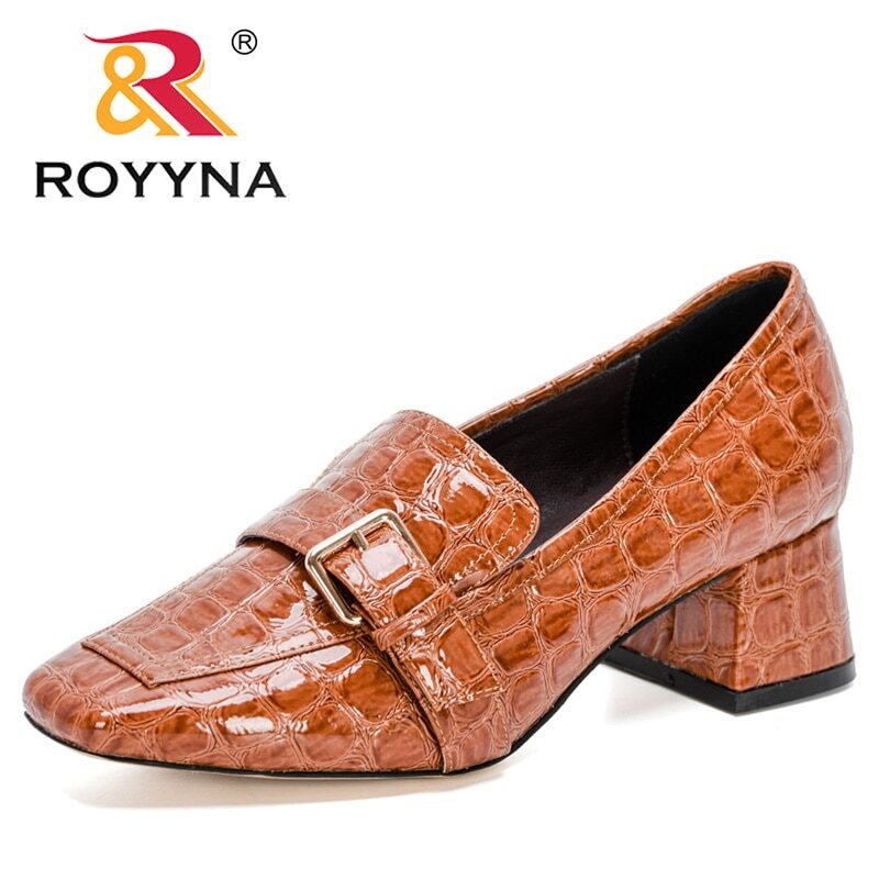 ROYYNA 2020 New Designers Fashion Pumps Patent Leather Thick Heel Shoes Women Square Toe Dress Shoes Ladies Pull-On Shoes Woman 9