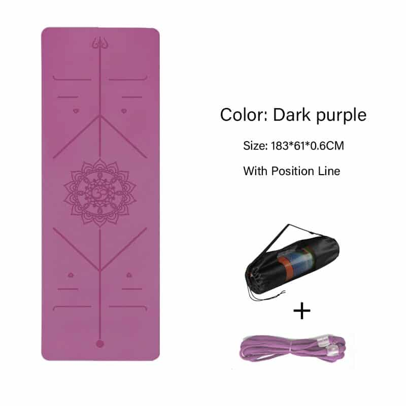 TPE Yoga Double Layer Non-Slip Mat Yoga Exercise Pad with Position Line For Fitness Gymnastics and Pilates 15